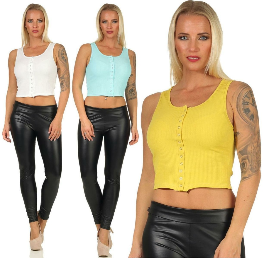Damen T-Shirt Bauchfrei Crop Top Bustier Oberteil...