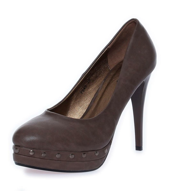 High Heels mit Nieten, Pumps Plateau Leder Optik, 7345